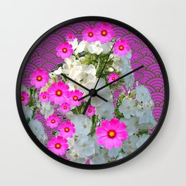 SNOW WHITE PHLOX & FUCHSIA  COSMOS FLOWERS  GARDEN ABSTRACT Wall Clock