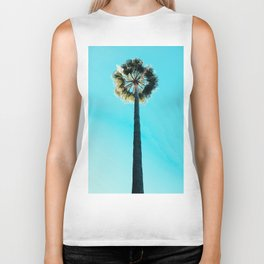 Modern tropical palm tree blue turquoise sky photography Biker Tank