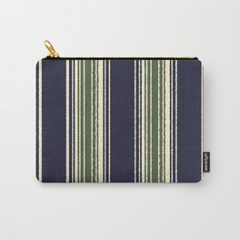 Navy blue and sage green stripes Carry-All Pouch