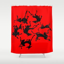 greyhound yoga Shower Curtain