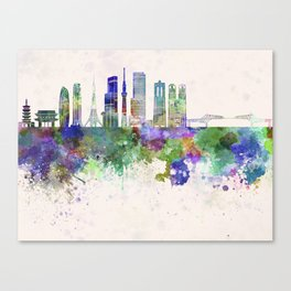 Tokyo V3 skyline in watercolor background Canvas Print