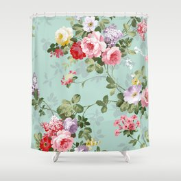 Elegant chic pink green roses flowers pattern Shower Curtain