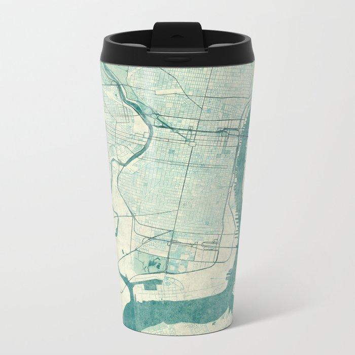 Philadelphia Map Blue Vintage Metal Travel Mug
