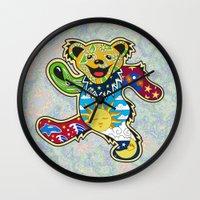 grateful dead Wall Clocks featuring Grateful Dead (Vector Art) by Troy Arthur Graphics