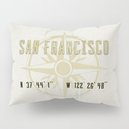 San Francisco - Vintage Map and Location Pillow Sham