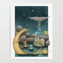 Bath Under The Starry Sky Poster