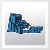 nfl Art Prints featuring Carolina AtAt Walkers - NFL by Steven Klock