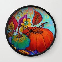 Jeweled Color Pumpkin Wall Clock