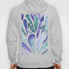 Watercolor artistic drops - purple and turquoise Hoody