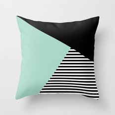 Mint Color Block with Stripes // www.penncilmeinstationery.com Throw Pillow
