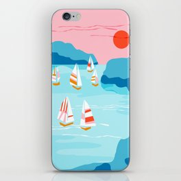 Tight - memphis throwback retro vintage classic sport boating yachting sailboat harbor sea ocean art iPhone Skin