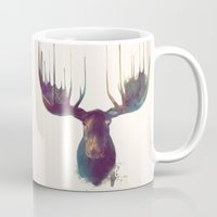 gray pattern Mugs featuring Moose by Amy Hamilton