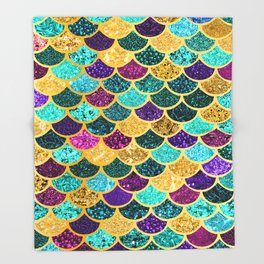 Glitter Purple, Aqua and Gold Mermaid Scales Pattern Throw Blanket