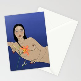 Woman Nude Resting with Lily Portrait Stationery Cards