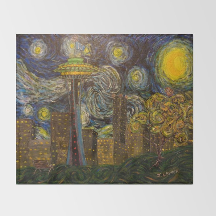 Dedication to Van Gogh: Seattle Starry Night Throw Blanket