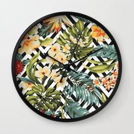 Flowered Chevron Wall Clock
