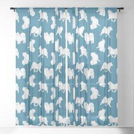 Samoyed Pattern (Blue Background) Sheer Curtain