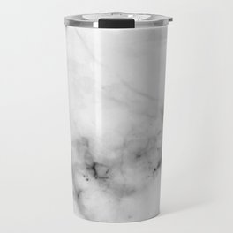 Pure White Real Marble Dark Grain All Over Travel Mug