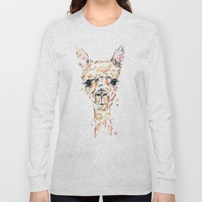 c4c9d73cd03bf Llama Llama - Colorful Watercolor Painting Long Sleeve T-shirt by  whitehouseart