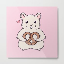 I love you more than this hamster loves pretzels Metal Print