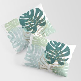 Tropical minimal / green, turquoise and gold monstera Pillow Sham