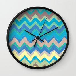NY Pastel chevron Wall Clock