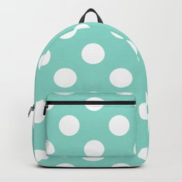 Middle blue green - heavenly - White Polka Dots - Pois Pattern Backpack