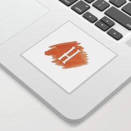 Letter H Orange Watercolor Sticker