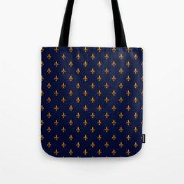 Blue & Gold Fleur-de-Lis Pattern Tote Bag