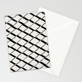 Modern Diamond Lattice Black on Light Gray Stationery Cards
