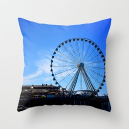 The Great Wheel in Seattle on a Blue Sky Day Throw Pillow