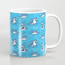 Cartoon Great White Sharks Coffee Mug