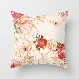 Watercolor Bloom Floral Buttefly Blush Glitter Throw Pillow