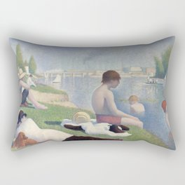 Bathers in Asnieres by Georges Seurat, 1884 Rectangular Pillow