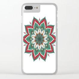 Mandala red green Clear iPhone Case