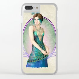 Peacock Gown Clear iPhone Case