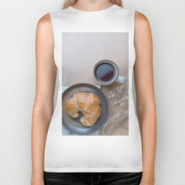 Croissant and black coffee Biker Tank