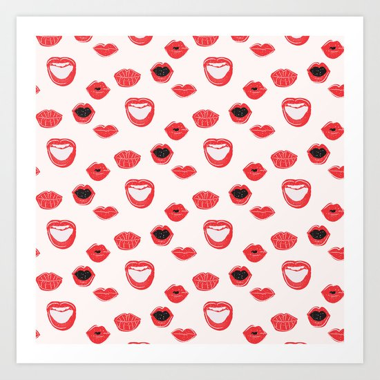 Pretty Lips Pattern Art Print