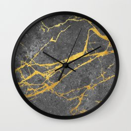 Matte black marble with gold Wall Clock