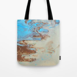 Fluid Art Acrylic Painting, Pour 27, Brown, Tan & Blue Blended Color Tote Bag