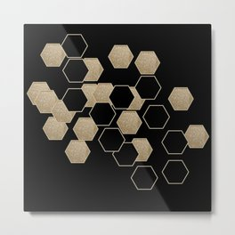 contemporary preppy scandinavian minimalist Black and gold hexagon Metal Print