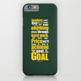 Lab No. 4 - Vince Lombardi Sport Inspirational Quotes Typography Poster iPhone Case
