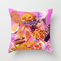 junk food Throw Pillows featuring Junk  by ♡♡Transparent Mess♡♡