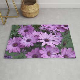 Lilac & Sage Color Purple Daisy Flowers Garden Rug