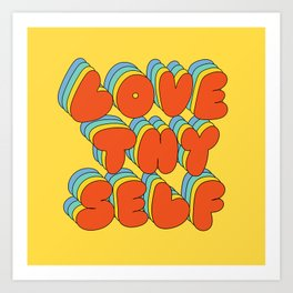 Love Thy Self Retro Graphic Art Print