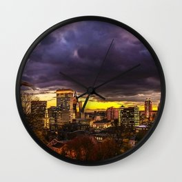 Prospect Terrace, Providence, Rhode Island City Lights Landscape Painting by Jeanpaul Ferro Wall Clock