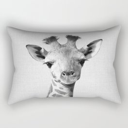 Baby Giraffe - Black & White Rectangular Pillow