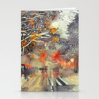 takmaj Stationery Cards featuring WINTER IN THE CITY by takmaj