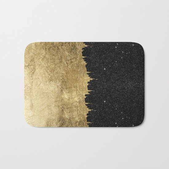 Faux Gold & Black Starry Night Brushstrokes Bath Mat