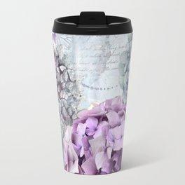 Purple Vintage Flower Hydrangea Hortensia Collage Travel Mug